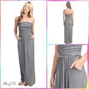 Dresses & Skirts - 🆕Strapless Ruched Maxi Summer Dress in Grey
